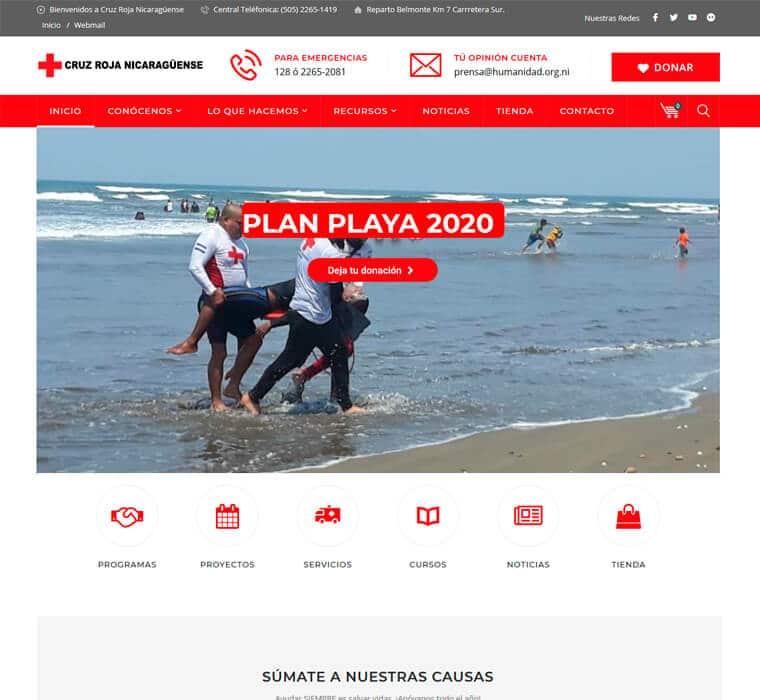 Sitio web Cruz Roja Nicaraguense
